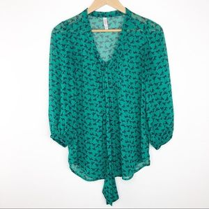 🌿 Xhilaration Green Horse Blouse with Tie